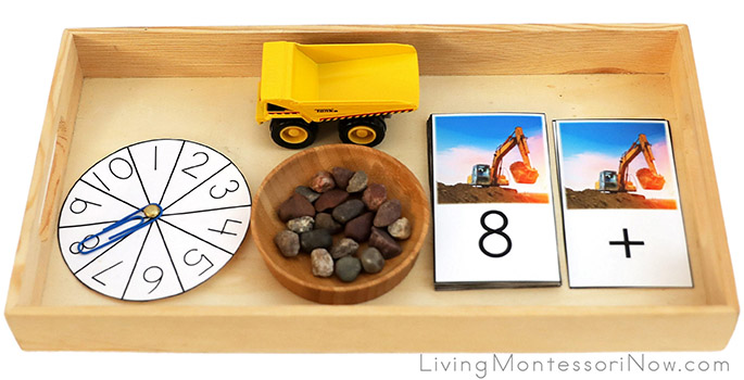 Tray with Excavator and Dump Truck Addition Activity