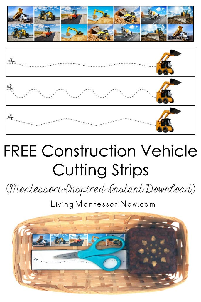 FREE Construction Vehicle Cutting Strips (Montessori-Inspired Instant Download)