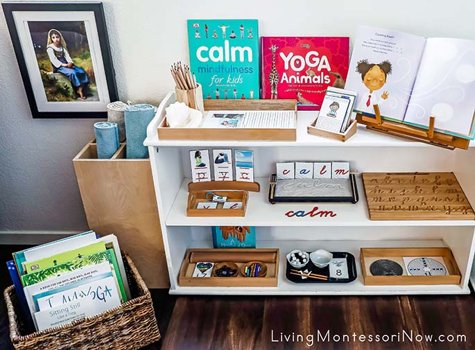 Montessori Book Basket and Shelves with Calm-Themed Activities