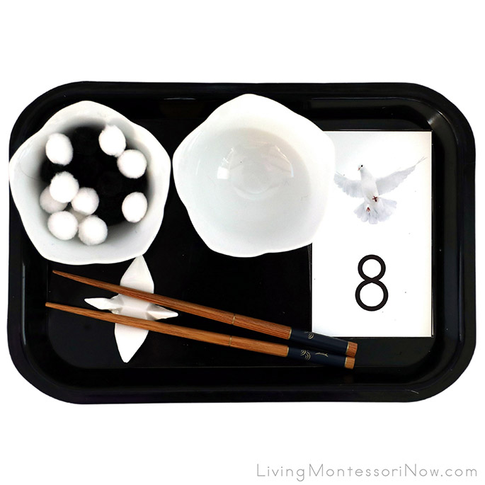 Peace Dove Counting or Addition Activity with Chopsticks Pom Pom Transfer