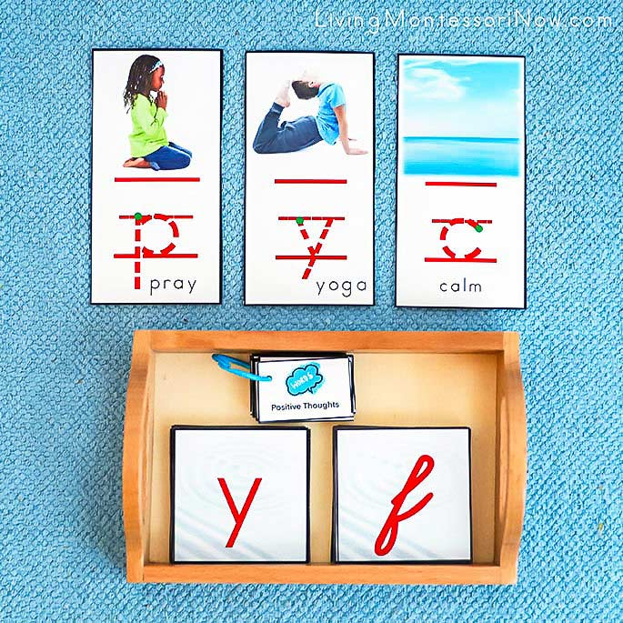 Pray, Yoga, and Calm Font Cards with Positive Thoughts Booklet and Zen Sand Alphabet Letters in Manuscript and Cursive