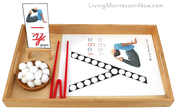 Tray with Y for Yoga Do-a-Dot Printable and Pom Pom Transfer