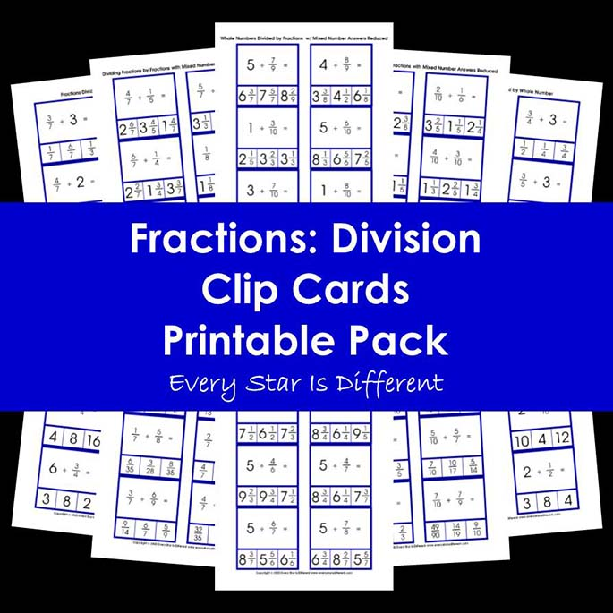 Fractions - Division Clip Cards Printable Pack
