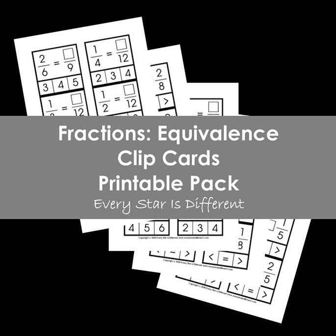 Fractions - Equivalence Clip Cards Printable Pack from Every Star Is Different
