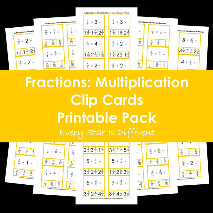 Fractions - Multiplication Clip Cards Printable Pack from Every Star Is Different