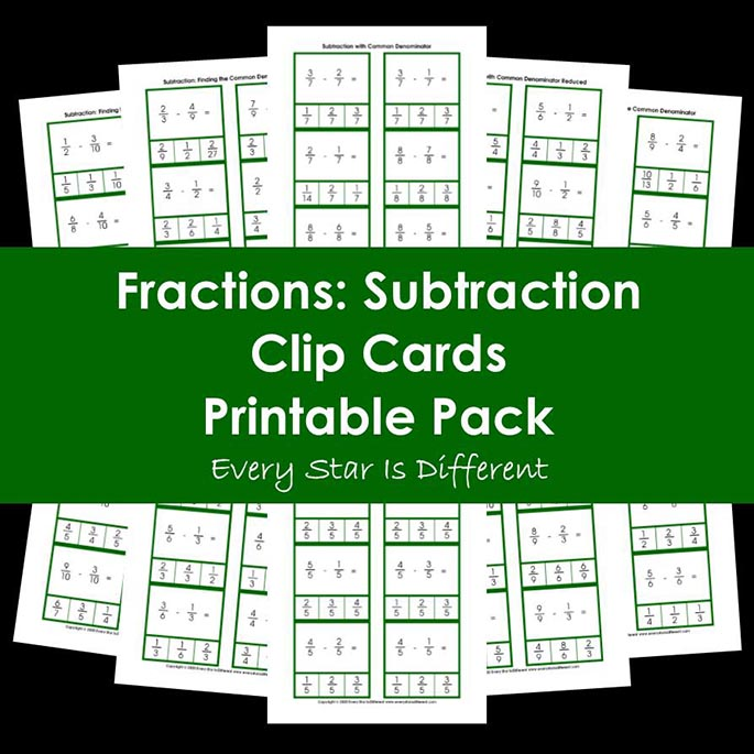 Fractions - Subtraction Clip Cards Printable Pack