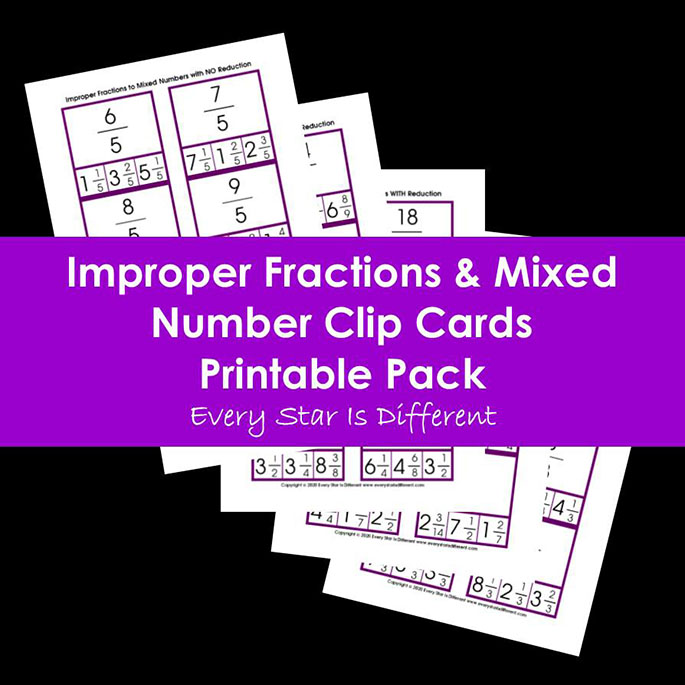 Improper Fractions and Mixed Number Clip Cards Printable Pack from Every Star Is Different