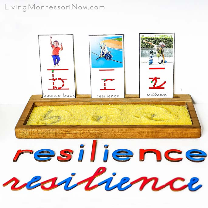 Resilience Salt Writing Tray with Movable Alphabet Letters in Print and Cursive