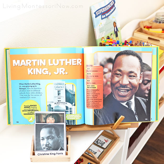 Martin Luther King Family 3-Part Cards with Pages from Little Kids First Big Book of Who