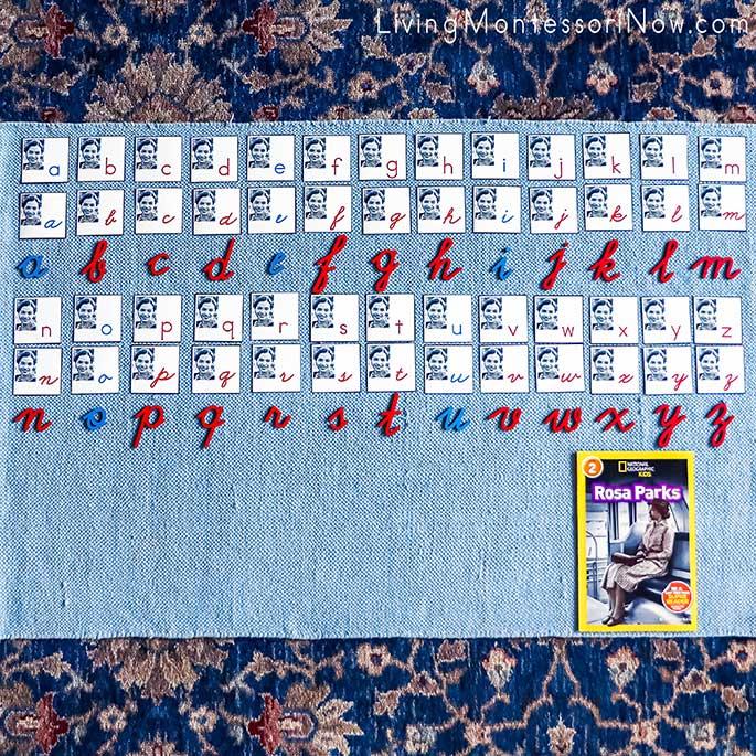 Matching Manuscript and Cursive Rosa Parks Letters with Cursive Movable Alphabet