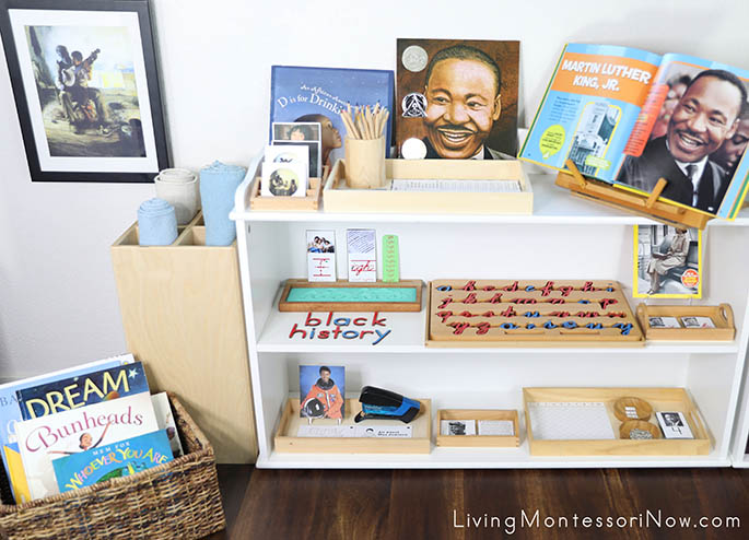 Montessori Book Basket and Shelves with Black History Themed Activities