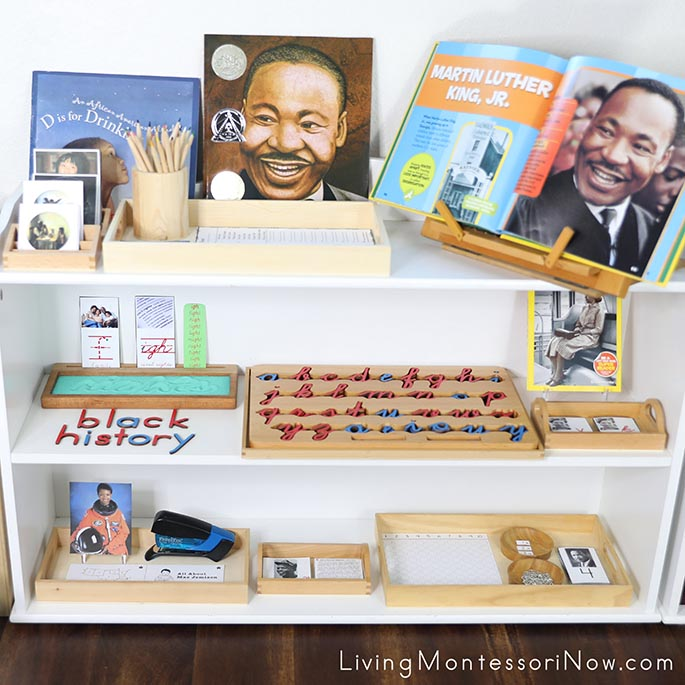 Montessori Shelves with Black History Themed Activities