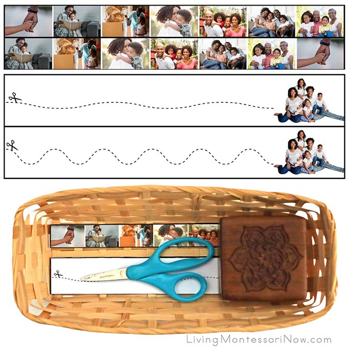 Black Family Cutting Strips with Basket