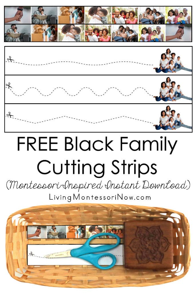 FREE Black Family Cutting Strips (Montessori-Inspired Instant Download)