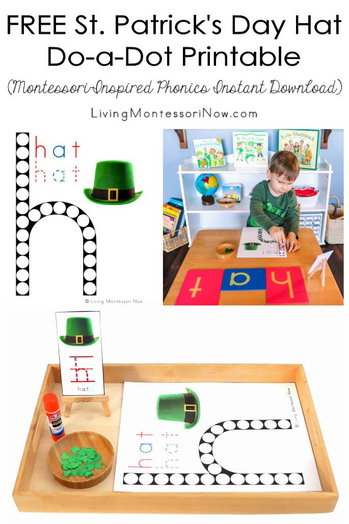 FREE St. Patrick's Day Hat Do-a-Dot Printable (Montessori-Inspired Phonics Instant Download)
