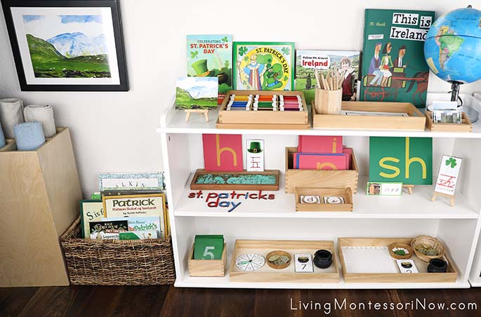 Montessori Book Basket and Shelves with St Patrick's Day Themed Activities