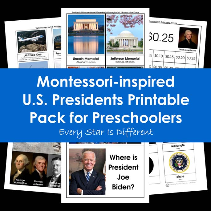 Montessori-Inspired U.S. Presidents Printable Pack for Preschoolers from Every Star Is Different