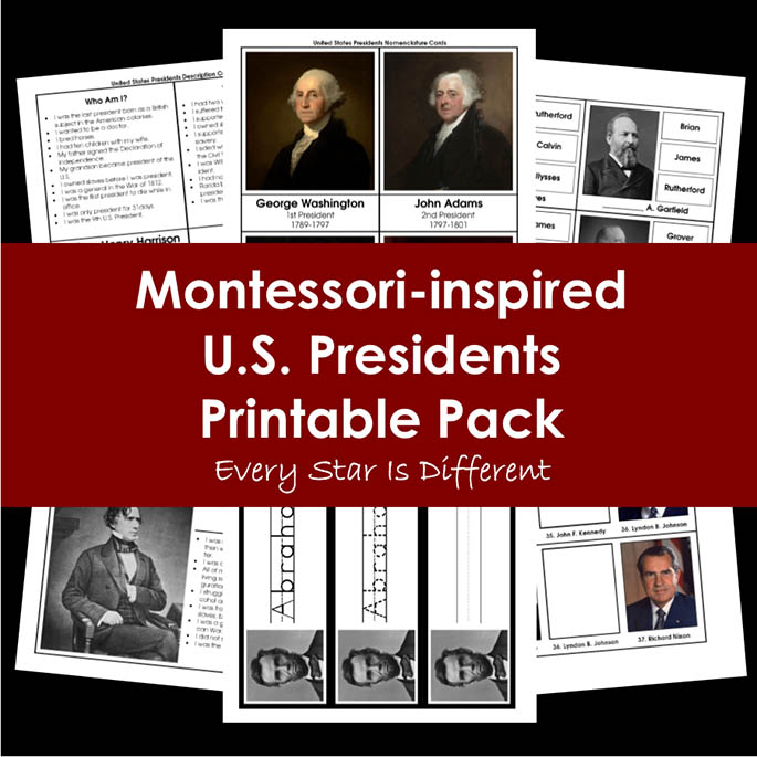 Montessori-Inspired U.S. Presidents Printable Pack from Every Star Is Different