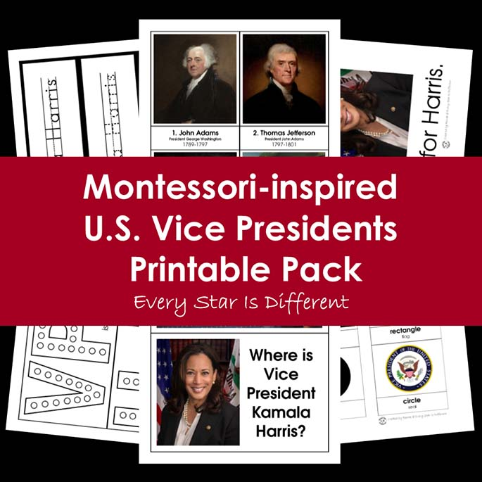 Montessori-Inspired U.S. Vice Presidents Printable Pack from Every Star Is Different