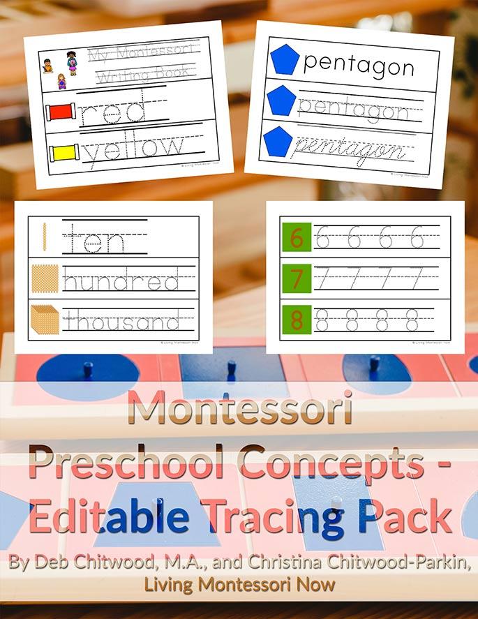 Montessori Preschool Concepts - Editable Tracing Pack