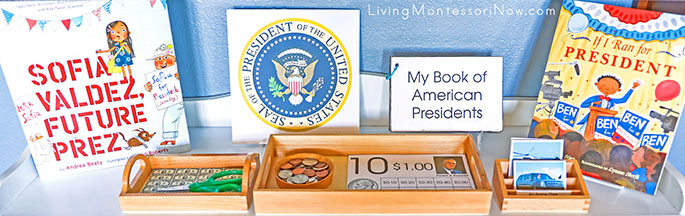 Montessori Shelf with U.S. President Materials and Books