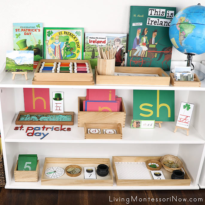 Montessori Shelves with St. Patrick's Day Themed Activities