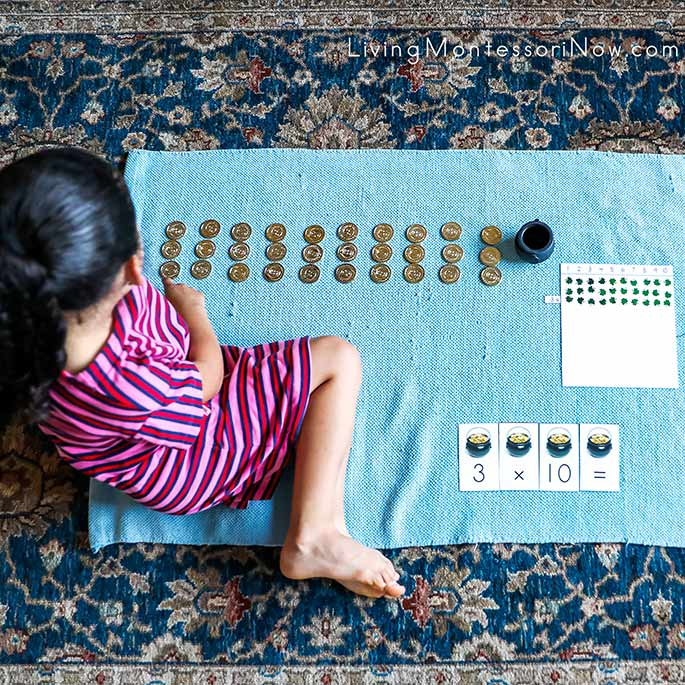 Montessori St Patrick's Day Multiplication Two Ways - With a DIY Multiplication Board and Multiplying Gold Coins