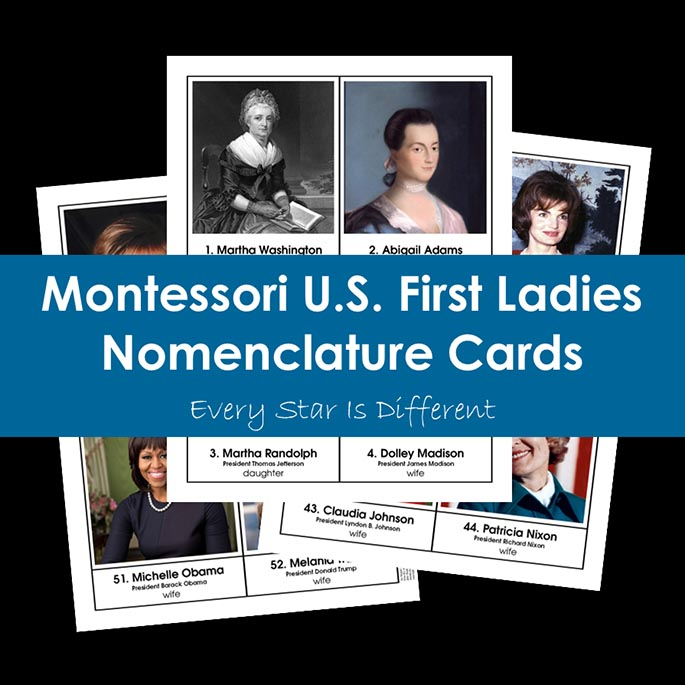 Montessori U.S. First Ladies Nomenclature Cards from Every Star Is Different