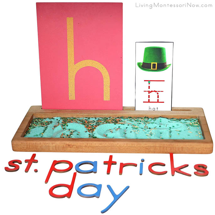 St Patrick's Day Salt Writing Tray with H for Hat Sandpaper Letter and Font Card