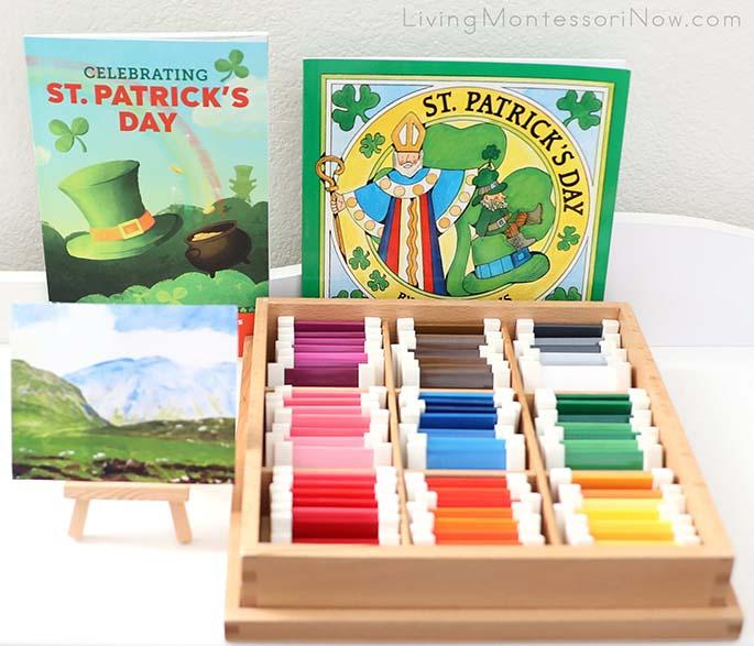 St. Patrick's Day Books with Irish Landscape (Art Print) by Robert Henri and Montessori Color Box 3