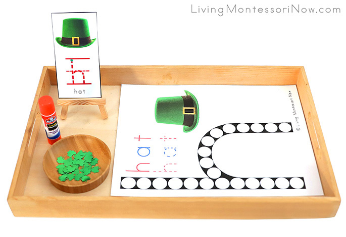 Tray with St. Patrick's Day Hat Do-a-Dot Printable and Shamrock Gluing Activity