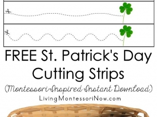 FREE St. Patrick's Day Cutting Strips (Montessori-Inspired Instant Download)