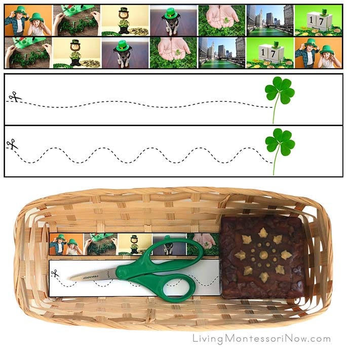 St Patrick's Day Cutting Strips with Basket