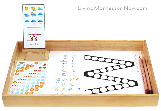 Tray with Weather Do-a-Dot Printable and Weather Stickers