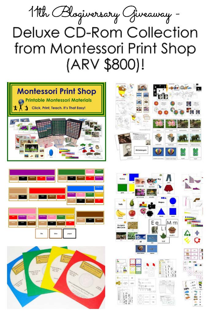 11th Blogiversary Giveaway - Montessori Print Shop Deluxe CD Rom Collection (ARV $800)!!!