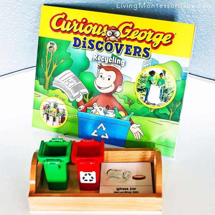 Curious George Discovers Recycling with Recycling vs Garbage Can Sort