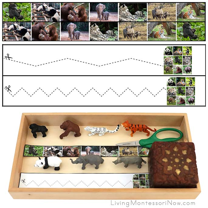 Endangered Animal Cutting Strips and Safari Ltd. Endangered Species Figures with Tray