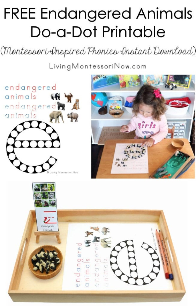 Free Endangered Animals Do-a-Dot Printable (Montessori-Inspired Phonics Instant Download)