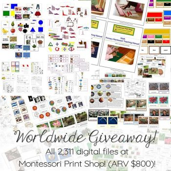 Worldwide Giveaway of 2,307 Montessori materials and 4 primary teaching manuals sponsored by Montessori Print Shop! (ARV $800)
