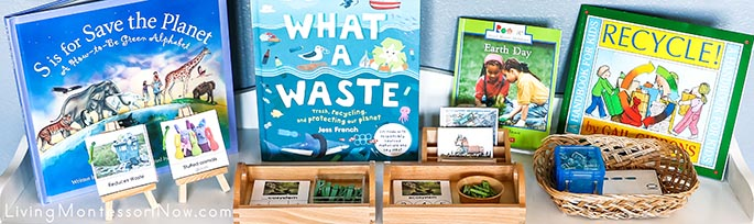 Montessori Shelf with Earth Day Books and Activities