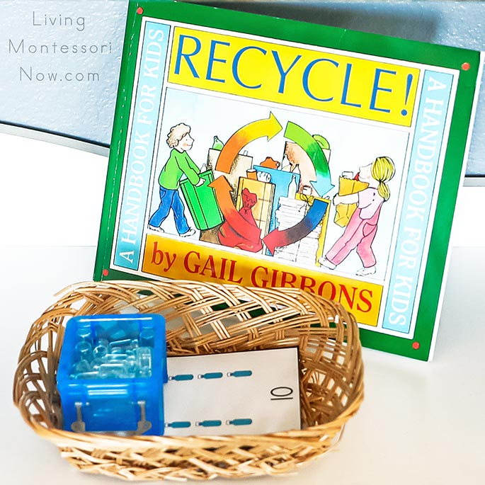 Recycle Book with Water Bottle Counting Cards and Miniature Bottles