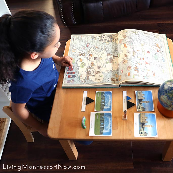 Study of England with Maps Book, Montessori Grammar Symbols, and TOOB Figures with 3-Part Cards