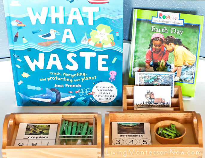 What a Waste and Earth Day Books with Landfill Construction Vehicles Nomenclature Cards, Earth Day Letter Sound Cards, and Number of Syllable Cards