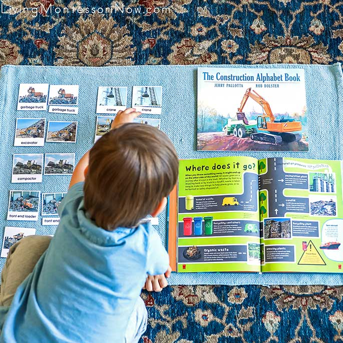 Working with Landfill Construction Vehicles Nomenclature Cards with The Construction Alphabet Book and What a Waste Book