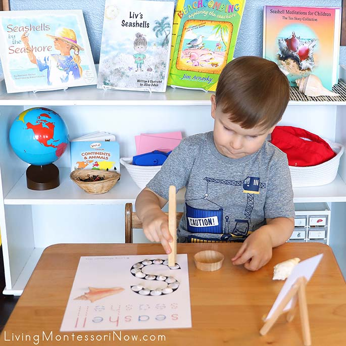 Concentrating on Transferring the Last Seashell to the Seashell Do-a-Dot Printable