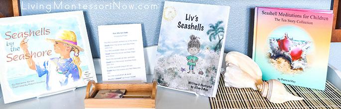 Montessori Shelf with Seashell Books and Activities