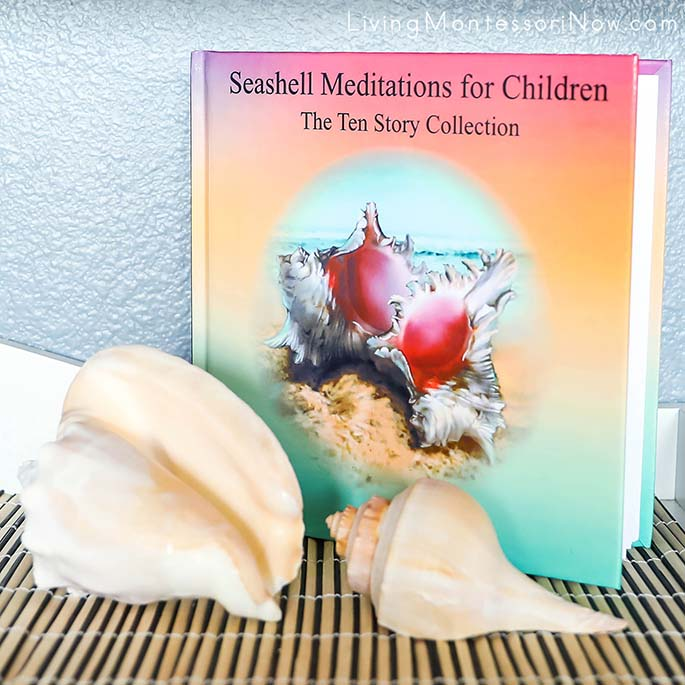 Peace Area with Large Seashells and the Book Seashell Meditations for Children