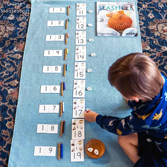 Working with Printable Alternative to Montessori Teen Boards with Bead Bars and Seashell Numbers 11-19