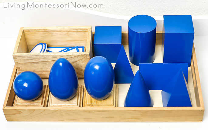 Geometric Solids with Bases & Planes with Box from Alison's Montessori