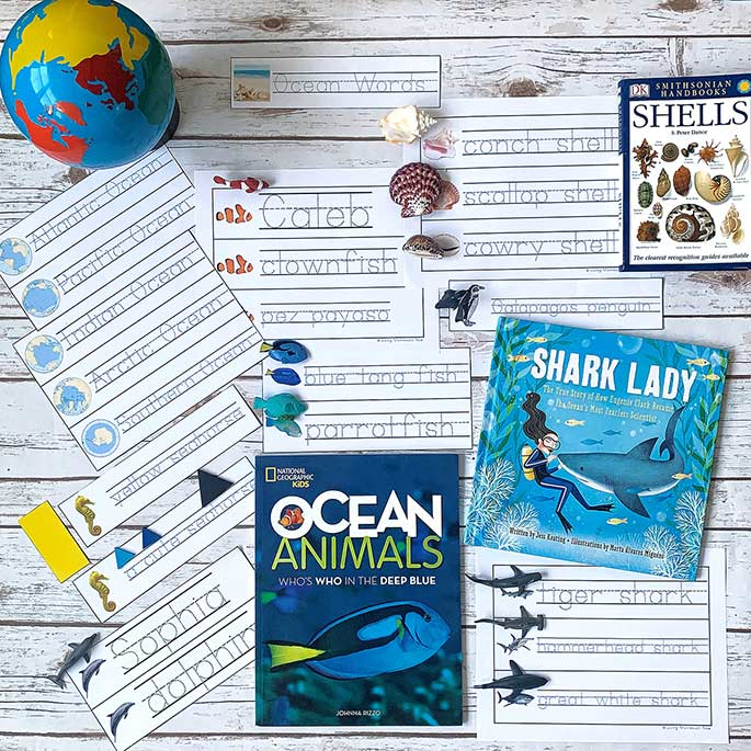 Ocean Books and Some of the Printables from the Ocean-Themed, Editable Name ad Word Tracing Pack in Print
